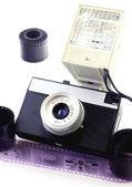 Retro camera with flash — Stock Photo