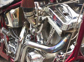 Shiny motorcycle engine — Stock Photo