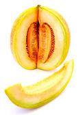 Melon na białym tle — Zdjęcie stockowe