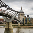London - The millennium bridge and Saint Paul Cathedral — Stock Photo