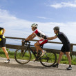 Group of cyclists on the road — Stock Photo