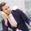 Businessman  talking at smart phone — Stock Photo