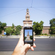 Photographing the Sforza Castle — Stock Photo