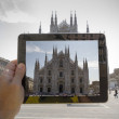 Take a picture of the Duomo in Milan — Stock Photo