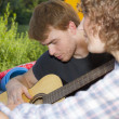Young couple at camping — Stock Photo
