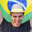 Man with flag of Brazil — Stock Photo