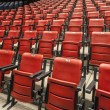 Red and cinema or theater empty seats in auditorium — Stock Photo