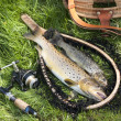 Trout fishing still life — Stock Photo