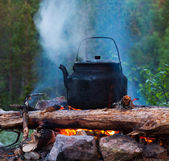 Kettle of boiling water on fire — Stock Photo