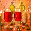 Hot wine punch Christmas popular hot drink — Stock Photo