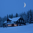 Mountain cottage in winter moonlit night — Stock Photo
