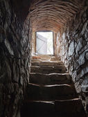 Stone stairs going from a cellar — Stock Photo