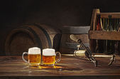 Beer still life on the table with tap — 图库照片