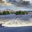 Flood in Prague on June 2013 with dramatic sky — Stock Photo