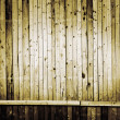Narrow vertical wooden planks with horizontal line as background — Stock Photo
