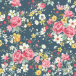 Wallpaper vintage rose pattern on navy background — Grafika wektorowa
