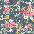 Wallpaper vintage rose pattern on navy background - Векторная иллюстрация