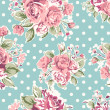 Wallpaper seamless vintage pink flower pattern on brown background — Stok Vektör