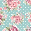 Wallpaper seamless vintage pink flower pattern on brown background — Imagen vectorial