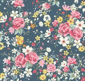 Patrón rosa vintage papel pintado sobre fondo azul marino — Vector de stock