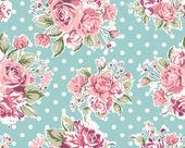 Patrón de papel tapiz inconsútil vintage flor rosa sobre fondo marrón — Vector de stock