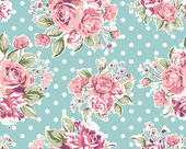 Wallpaper seamless vintage pink flower pattern on brown background — 图库矢量图片