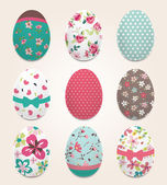 Set of color painted Easter eggs,flower pattern vector background — Stock Vector