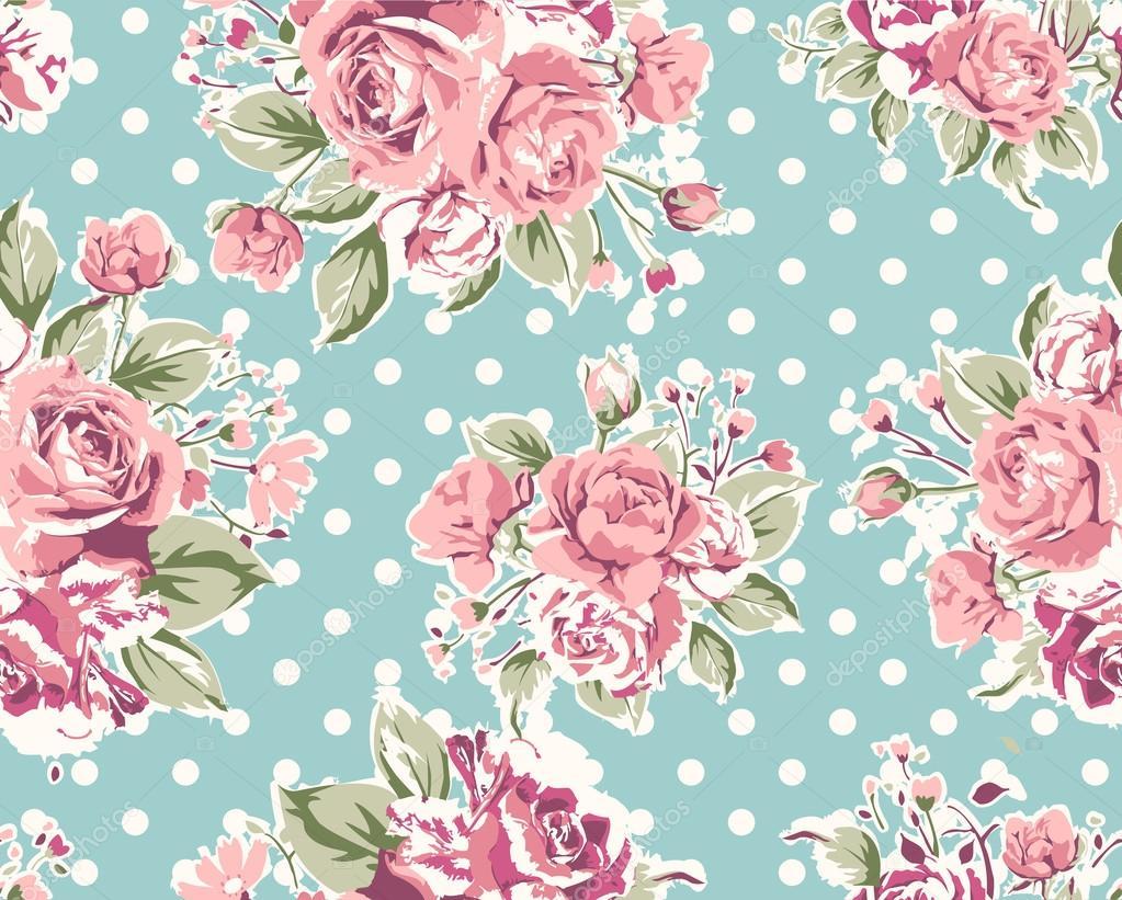 Vintage Flower Wallpaper Pattern Tapete nahtlose Vintag...
