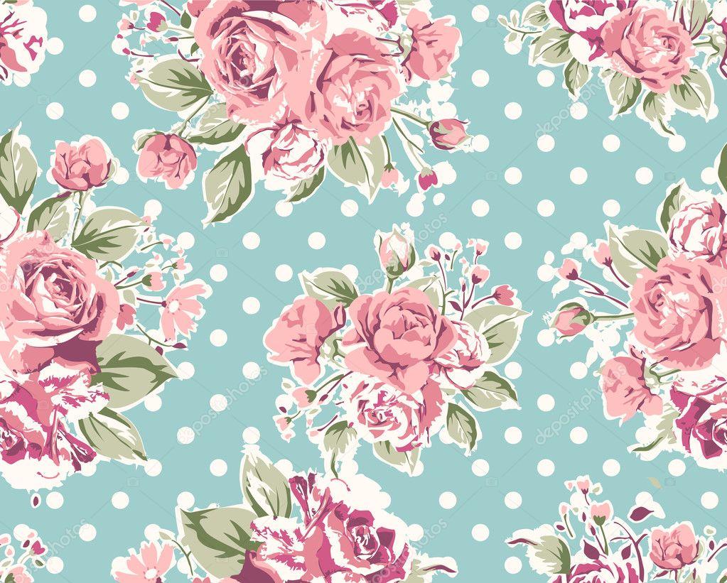 Padr 227 o de papel de parede flor rosa vintage sem emenda sobre fundo