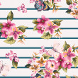 Butterfly with floral seamless pattern on stripe background — Stockvectorbeeld
