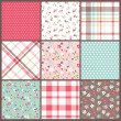Set of nine orated seamless cute tiny floral,flowers with check and dots texture vector background - Imagen vectorial