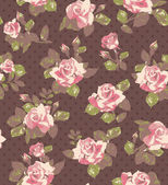 Seamless wallpaper vintage pattern with of collection pink roses and leaves — Stock Vector