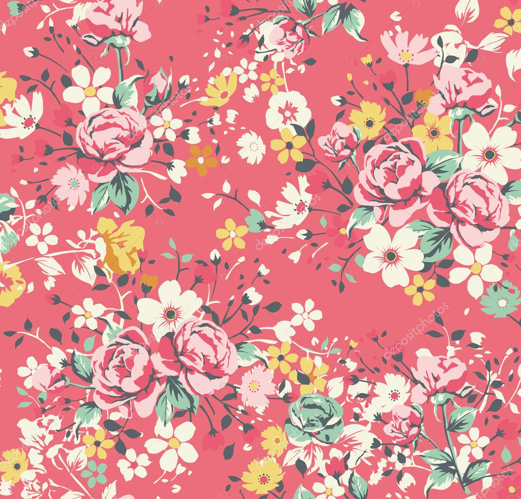 Pink Rose Vintage Wallpaper