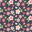 Spring cute flowers seamless pattern background — Imagen vectorial
