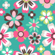 Stock Vector: Seamless spring retro flower vector pattern background