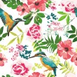 Seamless tropical floral pattern background — Stok Vektör #26264617