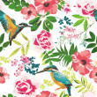 Stock vektor: Seamless tropical floral pattern background