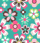 Seamless spring retro flower vector pattern background — Stock Vector
