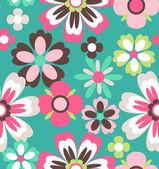 Seamless spring retro flower vector pattern background — Stock Vector