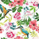 Seamless tropical floral pattern background — ストックベクタ