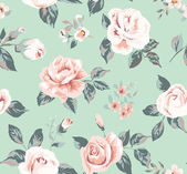 Classic wallpaper seamless vintage flower pattern on green background — Stock Vector