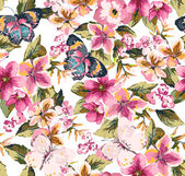 Butterfly with floral seamless pattern on blue background — 图库矢量图片
