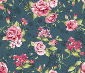 Classic wallpaper seamless vintage flower pattern on navy background — Stock Vector