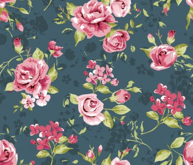 Classic wallpaper seamless vintage flower pattern on navy background