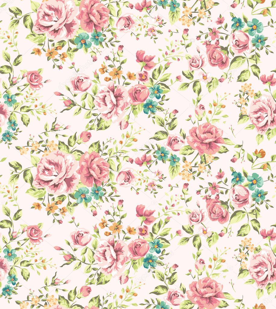 Classic wallpaper seamless vintage flower pattern vector ...