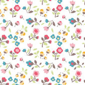 Seamless spring summer tiny flower vector pattern background — Stock Vector