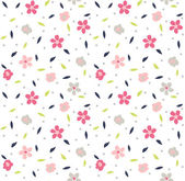Seamless tiny cute floral pattern on navy background — Stock Vector