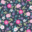 Spring floral seamless pattern on navy background — Stock Vector