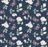 Wallpaper seamless vintage pink flower pattern on navy background — Stock Vector