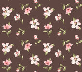 Wallpaper seamless vintage pink flower pattern on brown background — Stock Vector